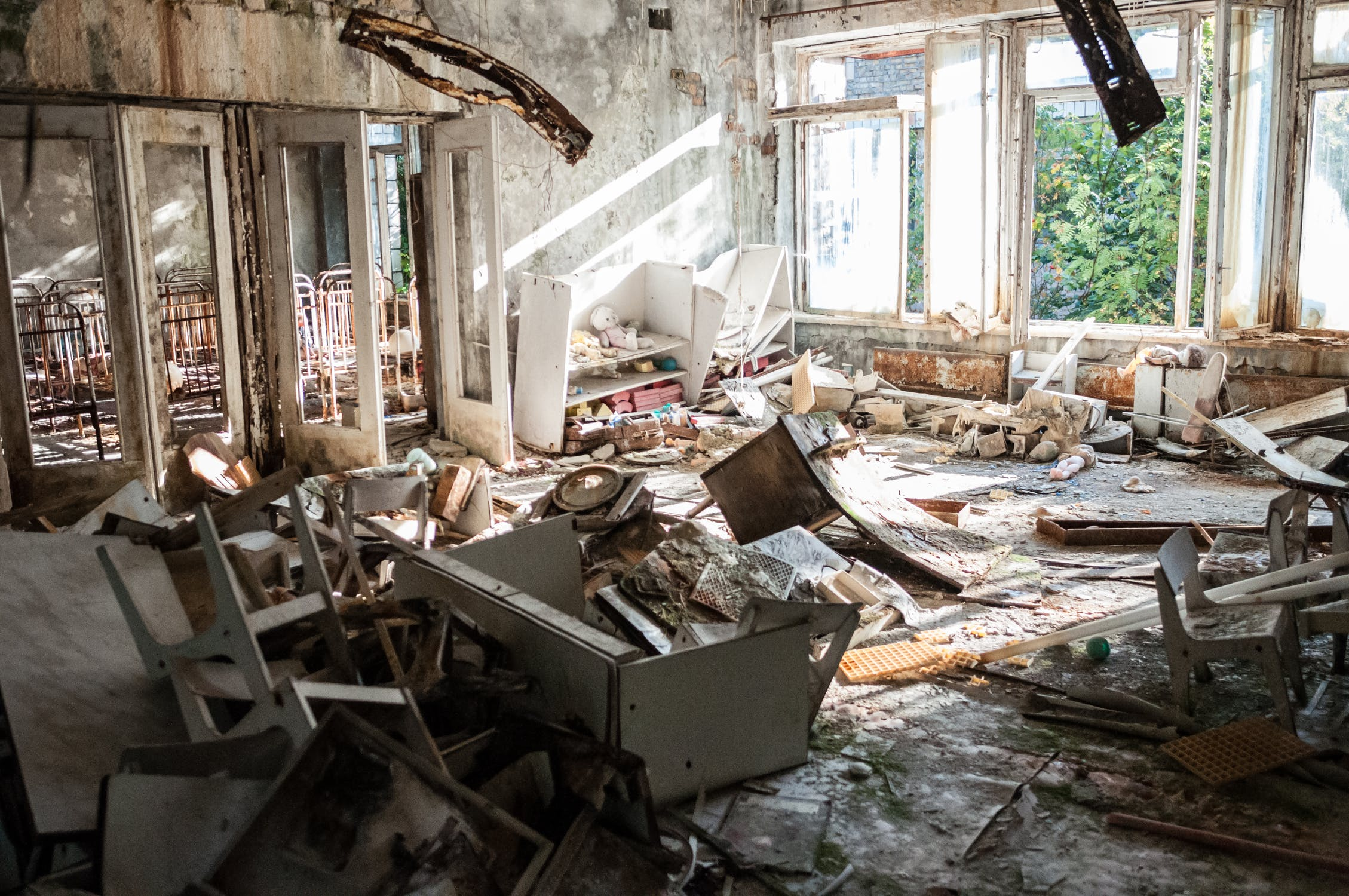 Destroyed room of an abandoned house